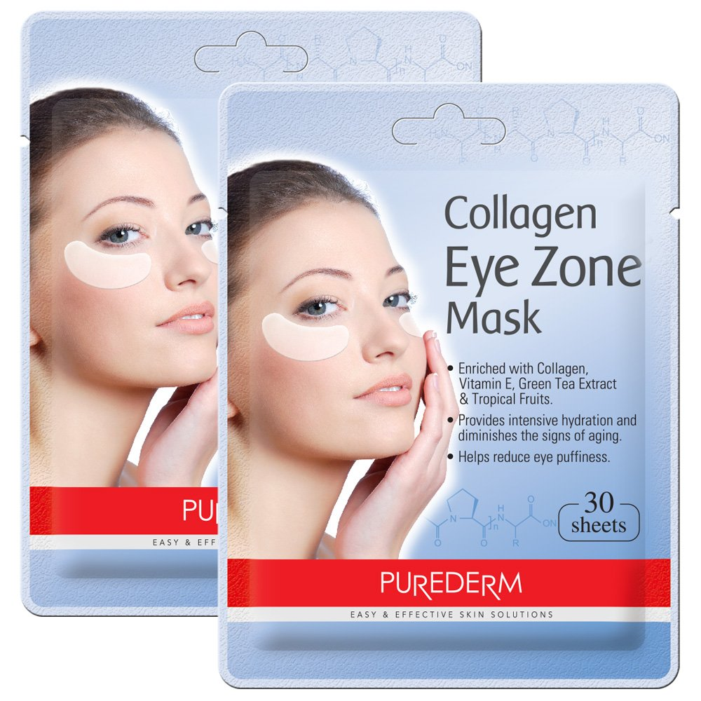 2 Pack Total 60(30 in each pack) Purederm Collagen Eye Zone Pad Patches Mask Wrinkle Care (2 Pack)