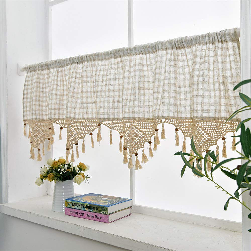 Tremendous Linen Cafe Curtain European Rural Style Handmade Natural Cotton Crochet Plaid Kitchen Curtain Valances 18 X 70 Off White Home Interior And Landscaping Thycampuscom