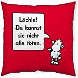 """Sheepworld 42667 Baumwollkissen """"Lächle! Du kannst sie nicht alle töten."""", 40 cm x 40 cm, rot"""