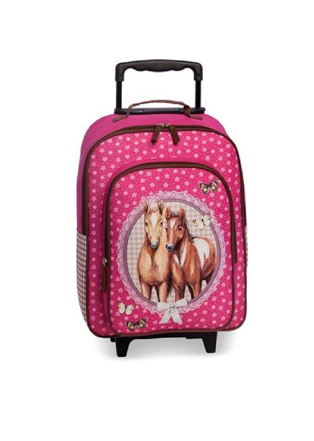 Koffertrolley Pferde rosa für Mädchen