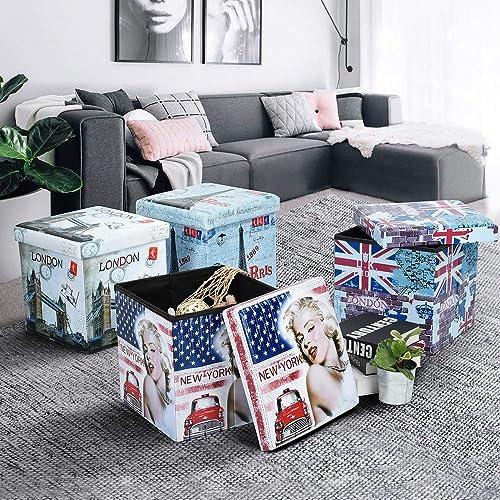 FurnitureR Folding Storage Ottoman Cube Footrest Seat with Versatile Space-Saving Seat 15 inch Blue PVC London Style