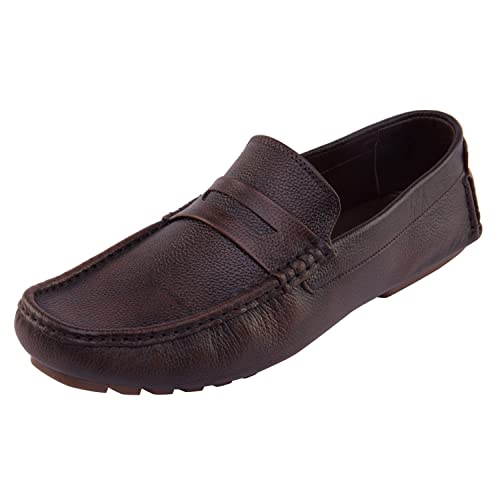 f3189989131 Vardhra Men Stylish Genuine Brushed Leather Casual Loafer Shoe Brown  Buy  Online at Low Prices in India - Amazon.in