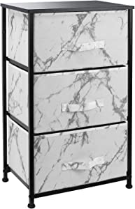 Sorbus Nightstand with 3 Drawers - Bedside Furniture & Night Stand End Table Dresser for Home, Bedroom Accessories, Office, College Dorm, Steel Frame, Wood Top (Marble White – Black Frame)