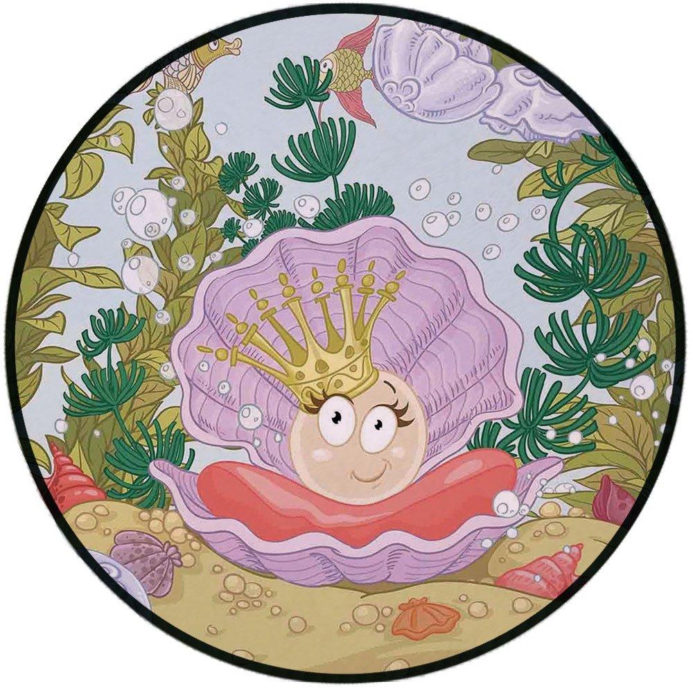 Printing Round Rug,Pearls,Cute Princess Pearl in Clam with Crown Tiara Reef Cartoon Print Baby Girl Nursery Print Mat Non-Slip Soft Entrance Mat Door Floor Rug Area Rug For Chair Living Room,Multi