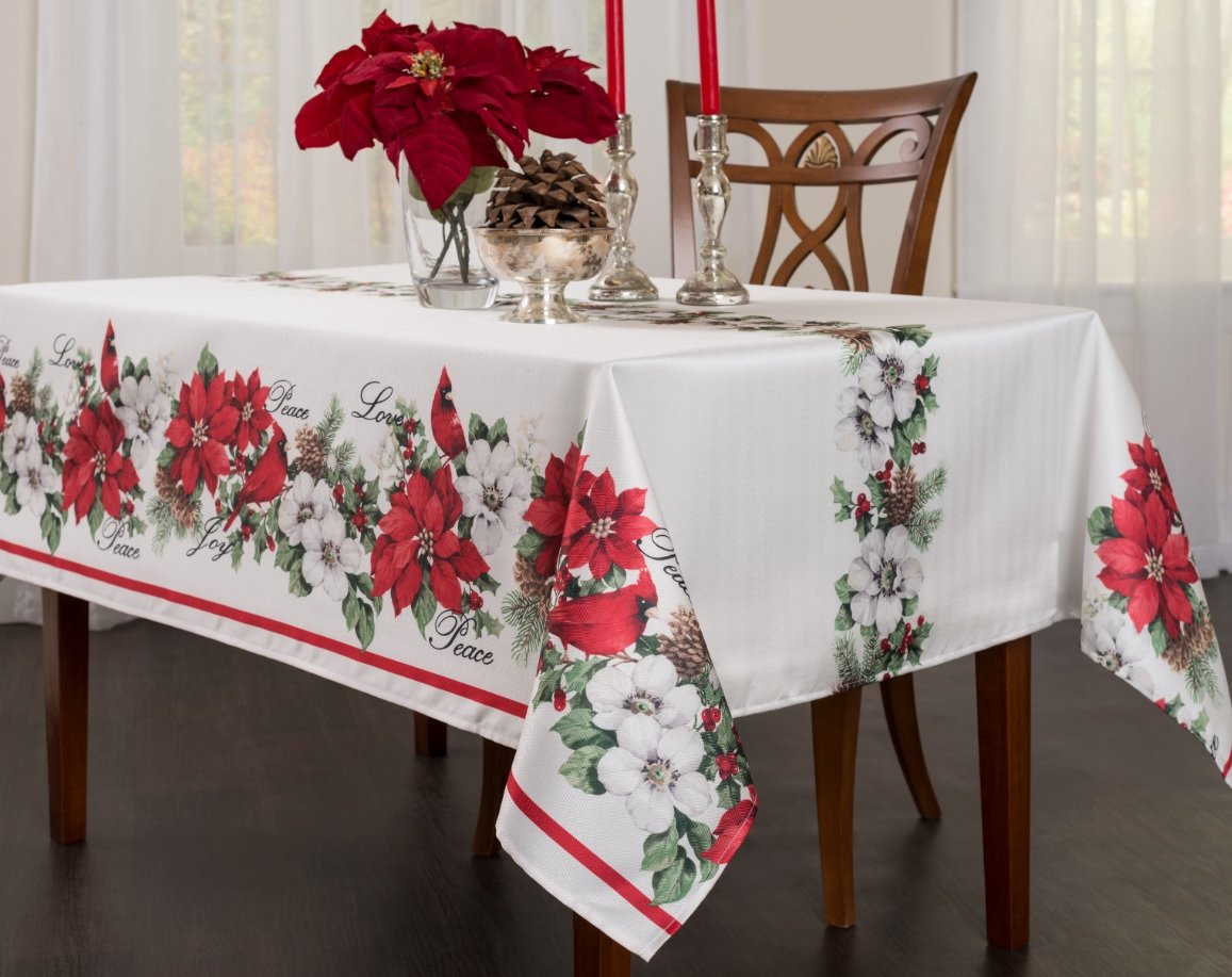 Creative Dining Group Botanical Christmas Herringbone Print Rectangle Tablecloth, 52 by 70-Inch 45105