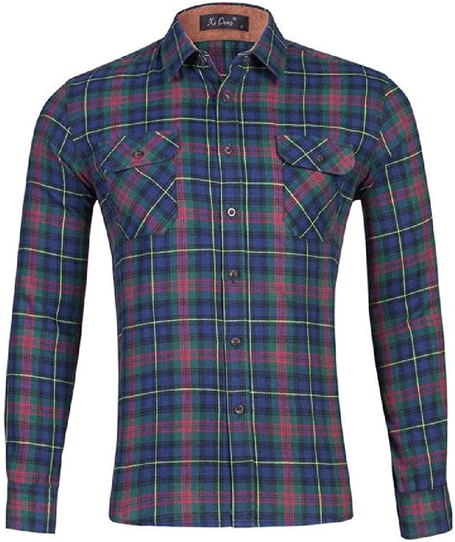 Fubotevic Mens Loose Cotton Long Sleeve Checkered Casual Button Down Dress Work Shirt