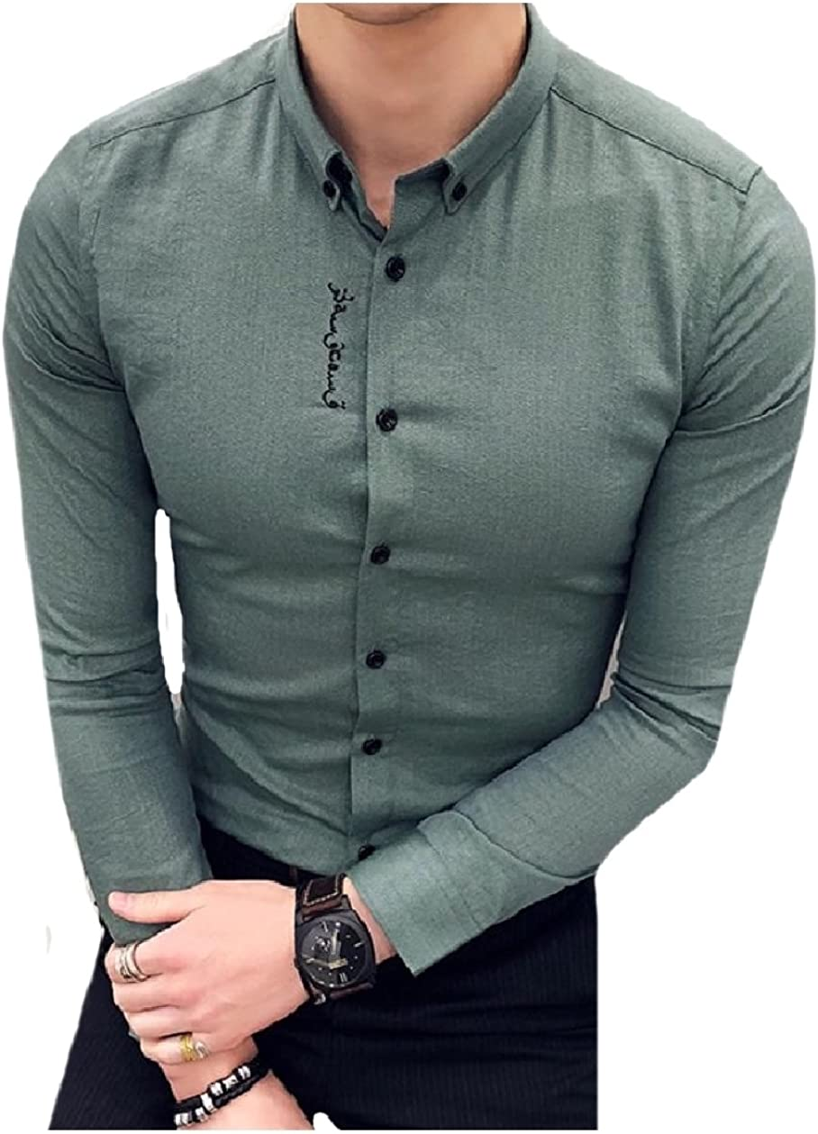 Zimaes-Men Stylish Embroidered Contemporary Solid Color Western Shirt