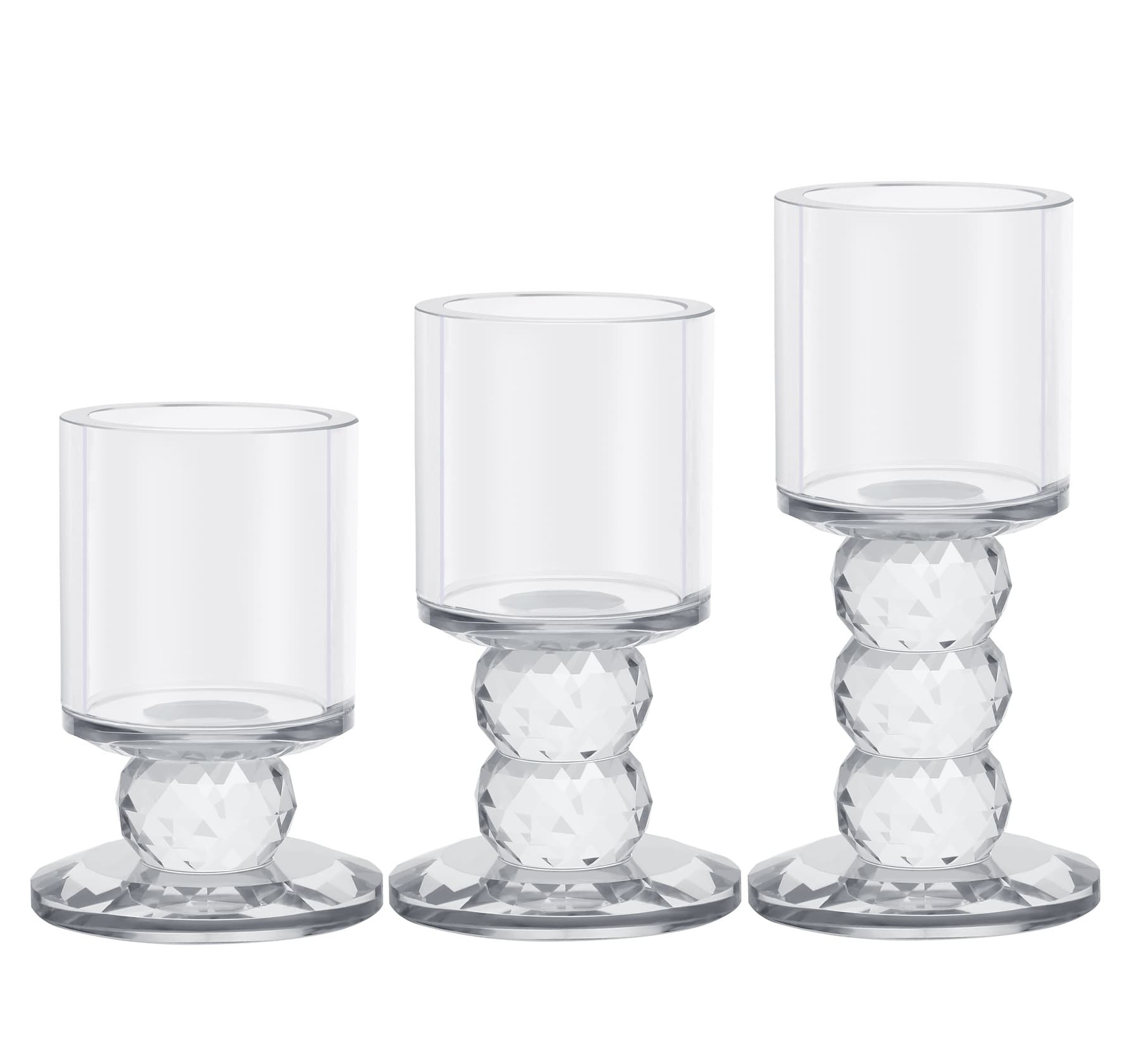 Crystal Candle Holder Set of 3 Crystal Candlestick 3.3''/4.2''/5'' Height Tealight Pillar Candle Holder Set Centerpieces for Wedding Parties Home Decor Ceremony and Anniversary