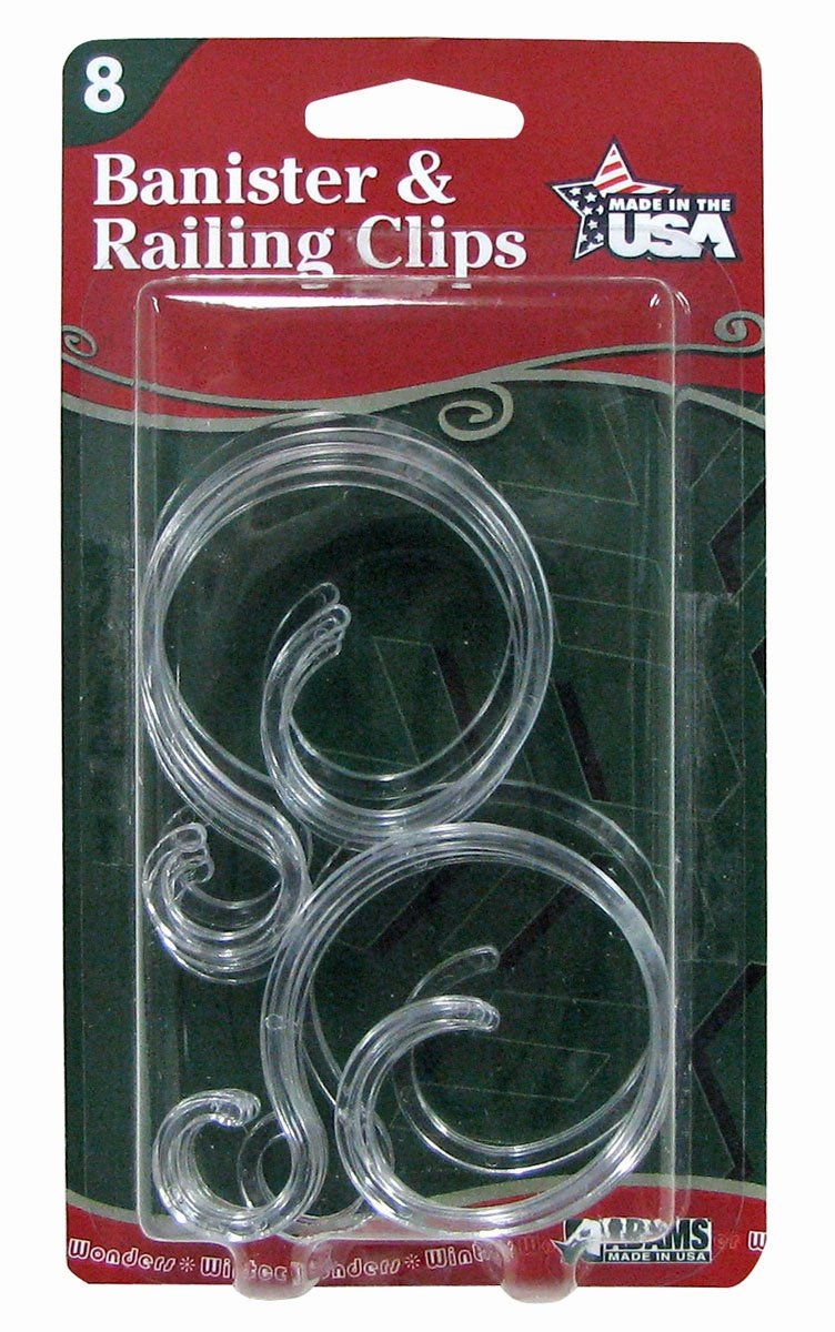 Banister & Railing Clips - also fences & decking rails - for Christmas lights and decorations
