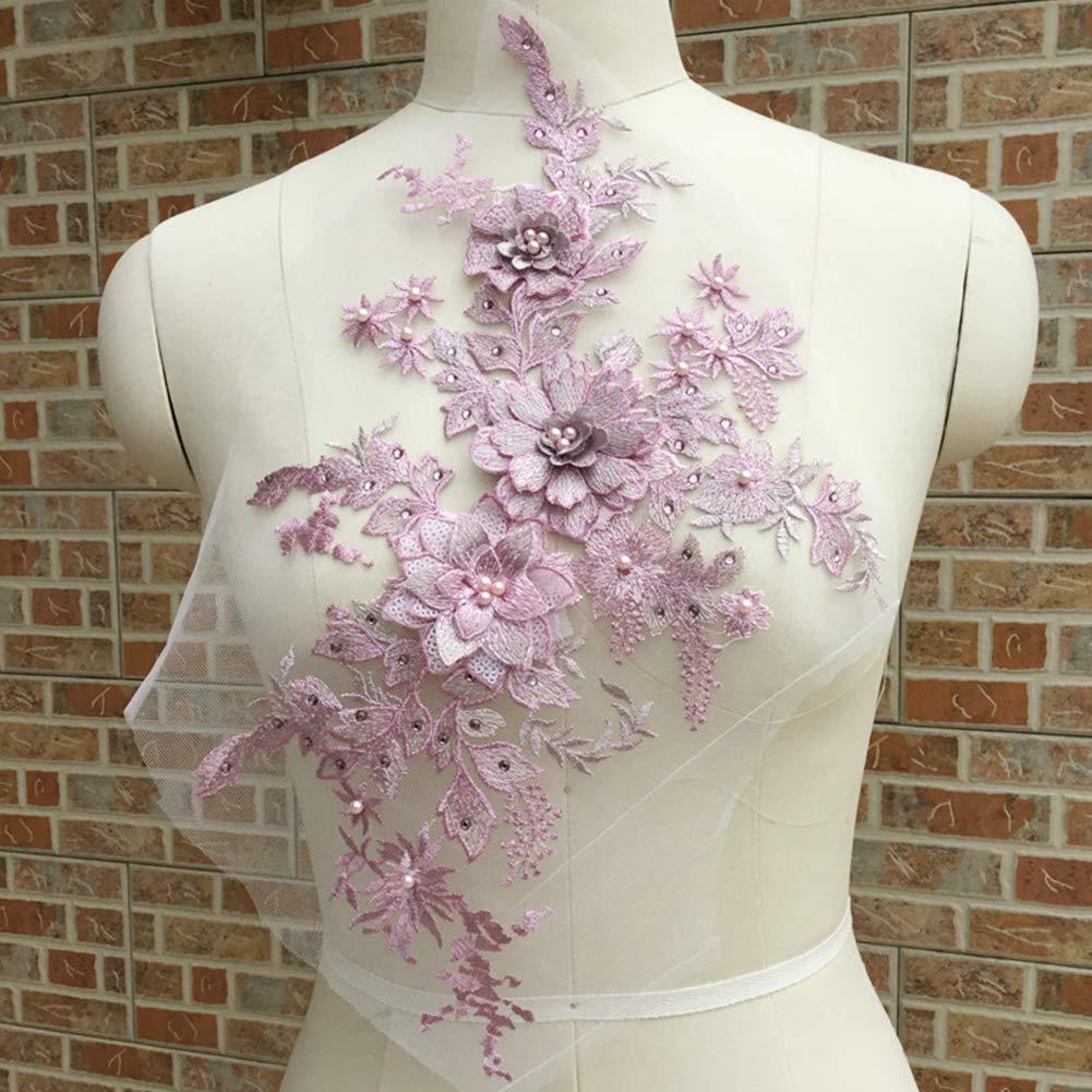 aplique Aplique de encaje con cuentas de flor bordada en 3D con encaje para novia decoraci/ón del hogar vestido de novia tul para bricolaje Tama/ño libre perlas azul