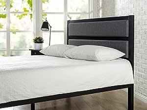 Zinus Jessica Double Headboard   Upholstered Fabric Metal Bed Head, High Density Foam - Grey