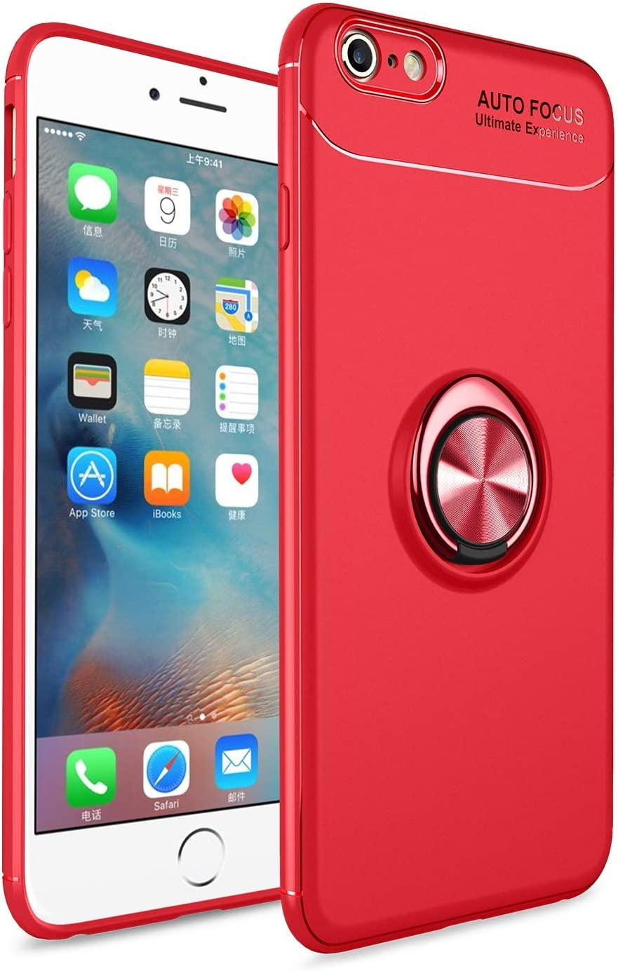 Smartphone Protective Clips For iPhone 6s Plus Case,For iPhone 6 Plus Case Soft TPU Shockproof Case 360 Degrees Rotating Metal Magnetic Ring Kickstand Heat Dissipation Anti-Fall Protective Case Phone