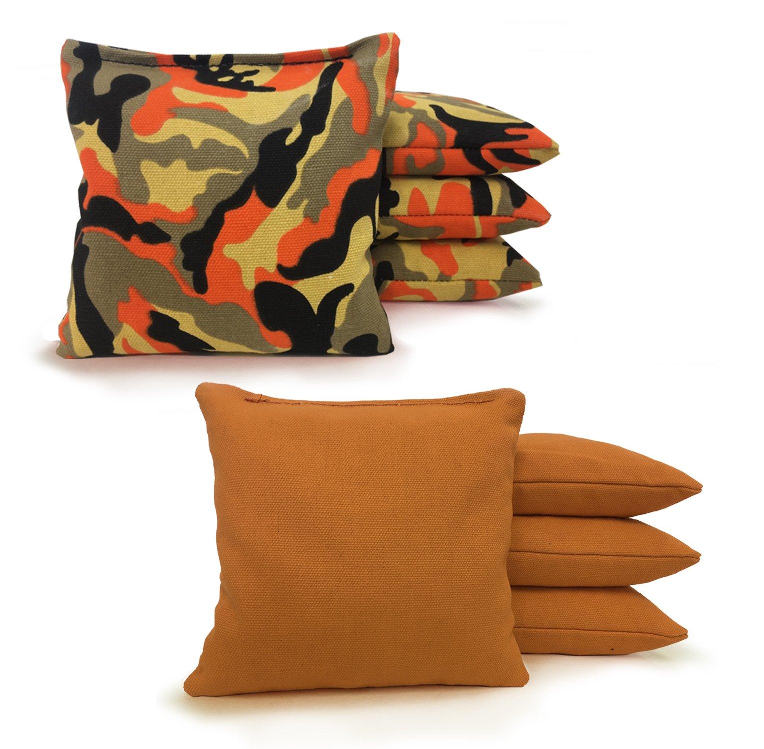 Johnson Enterprises, LLC 8 Standard Corn Filled Regulation Duck Cloth Cornhole Bags 17 Colors Available (You Pick)!! (Orange Camo/Gold) by Johnson Enterprises, LLC