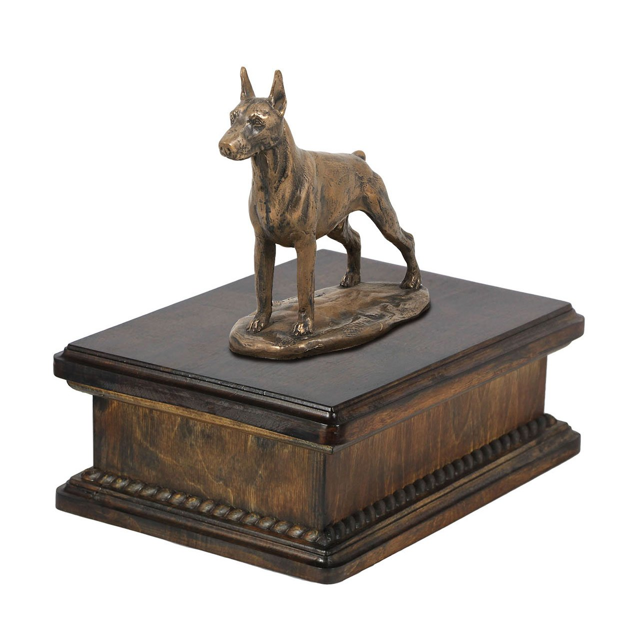 Doberman (cropped), memorial, urn for dog's ashes, with dog statue, exclusive, ArtDog