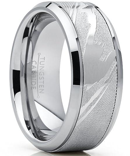 Metal Masters Co./® 9MM Herren Wolframcarbid Ring Verlobungsringe Trauringe Hochzeitsband mit Damastmuster eingelegt