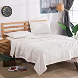 NTCOCO 3 Piece Comforter Set Thin Quilt Lightweight Comforter,100% Washed Cotton,Machine Washable,Soft Comfy Breathable Can Sleep Naked