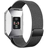 For Fitbit Ionic Bands Small and Large for Women Men, hooroor Fully Magnetic Closure Clasp Mesh Loop Milanese Stainless Steel Metal Ionic Sport Band Accessories for Fitbit Ionic Smartwatch More Colors