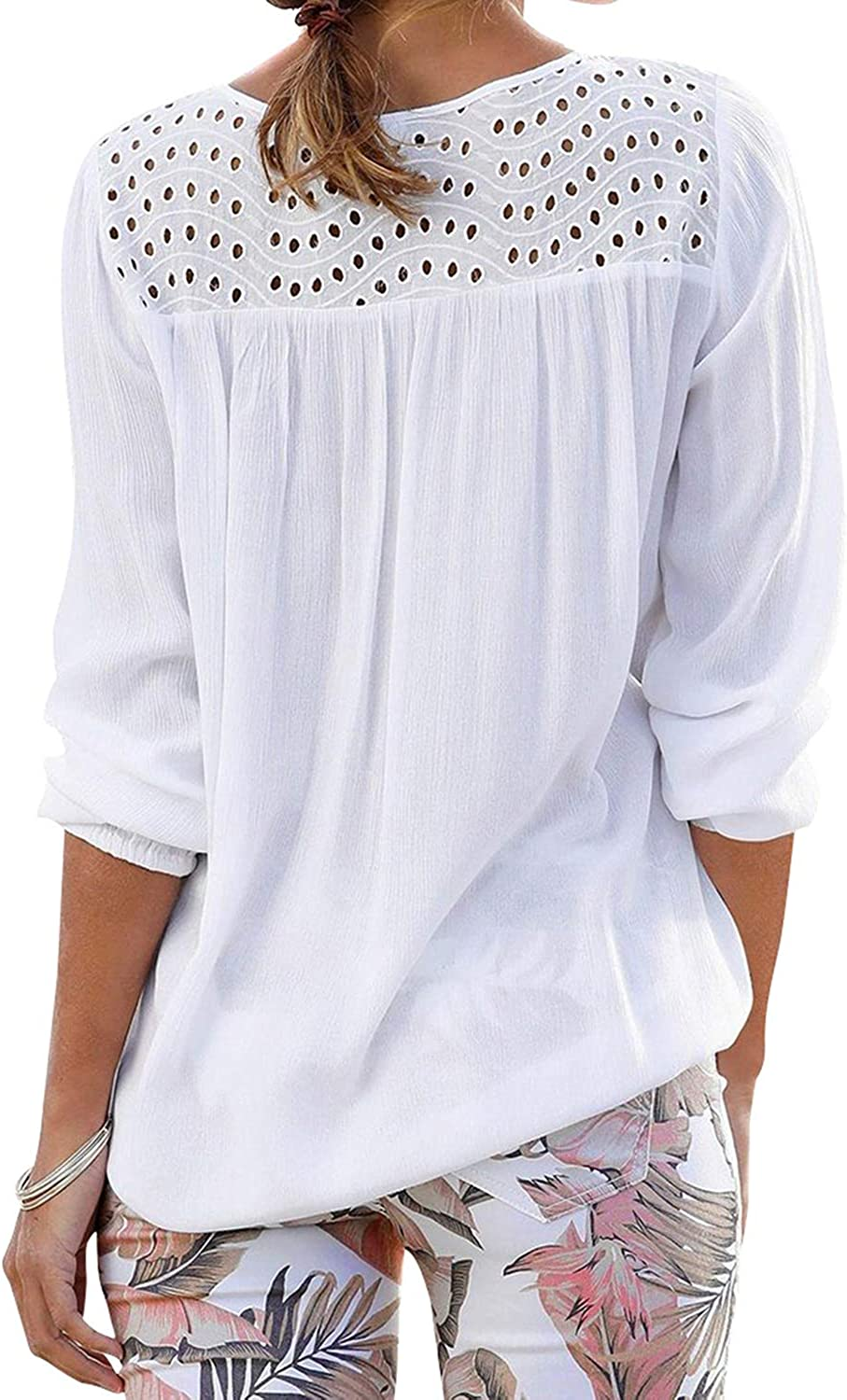 RIFESHOW Womens Hollow Out V Neck Long Sleeve Pleated Tassel-Tie Blouses Tops
