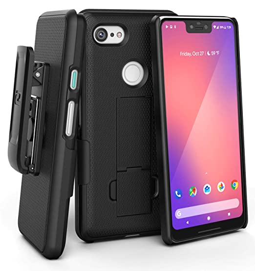 new product 36f90 b202b Encased DuraClip Pixel 3 XL Belt Clip Case, Slim Fit Holster Shell Combo  (Rubberized Grip) Smooth Black