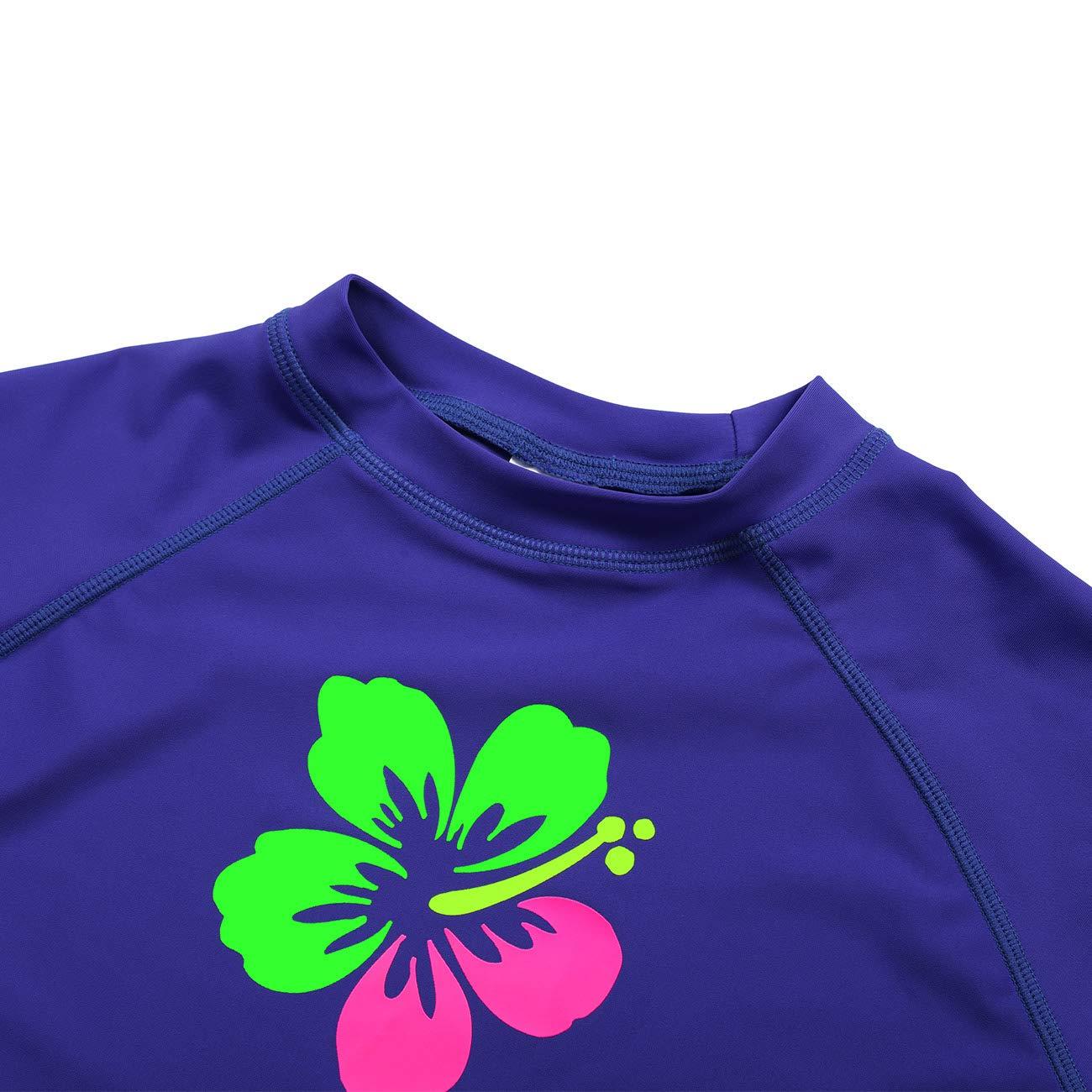 DAYU Girls Flower Long Sleeve Rashguard