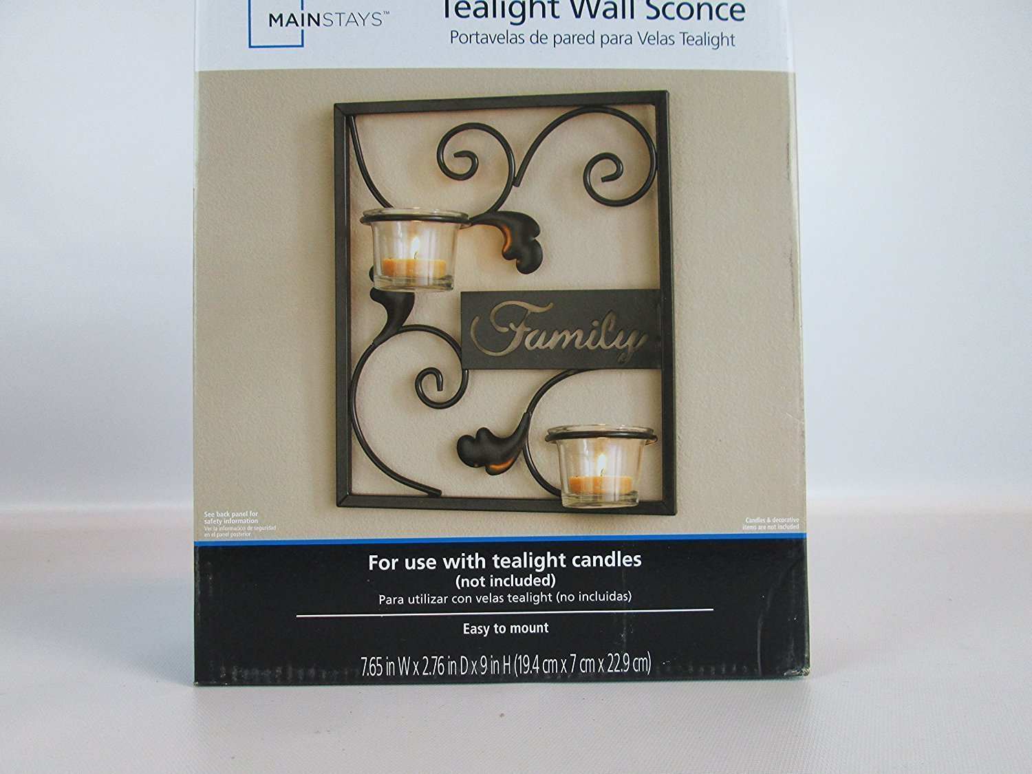 Amazon Mainstay Iron Square Family Tealight Wall Sconce Candle