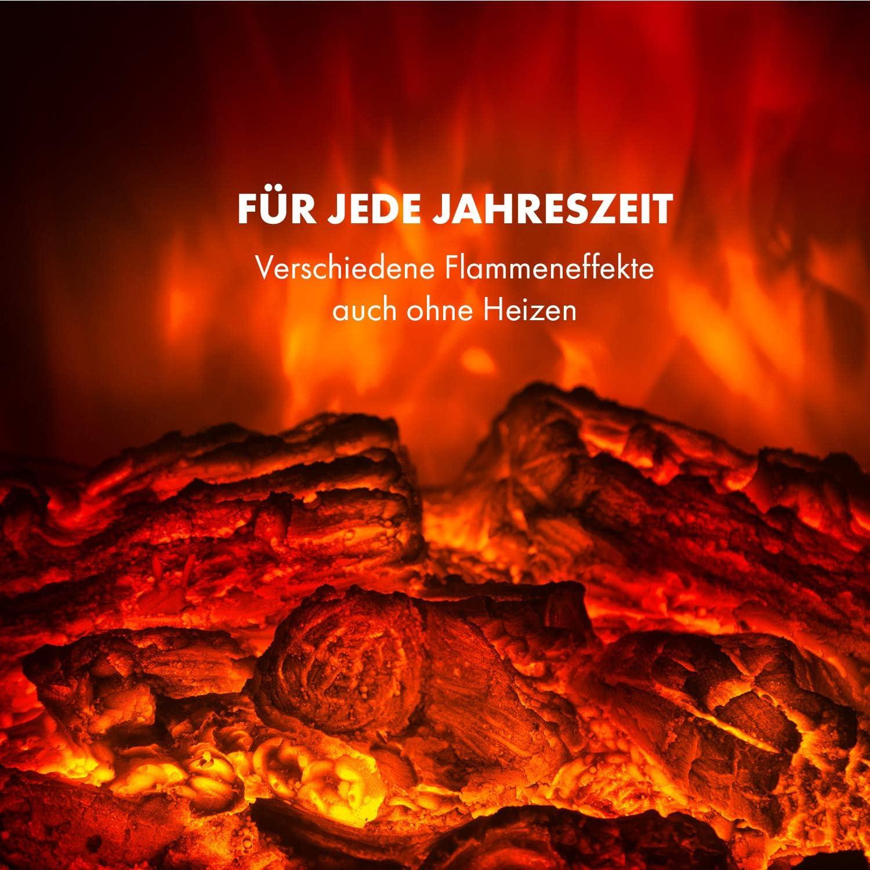 Wochentimer Fernbedienung realistische Flammeneffekte 2 Heizstufen: 950//1900 W Klarstein Bormio S Elektrischer Kamin Thermostat schwarz Open-Window-Detection Stauraum f/ür Holzscheite