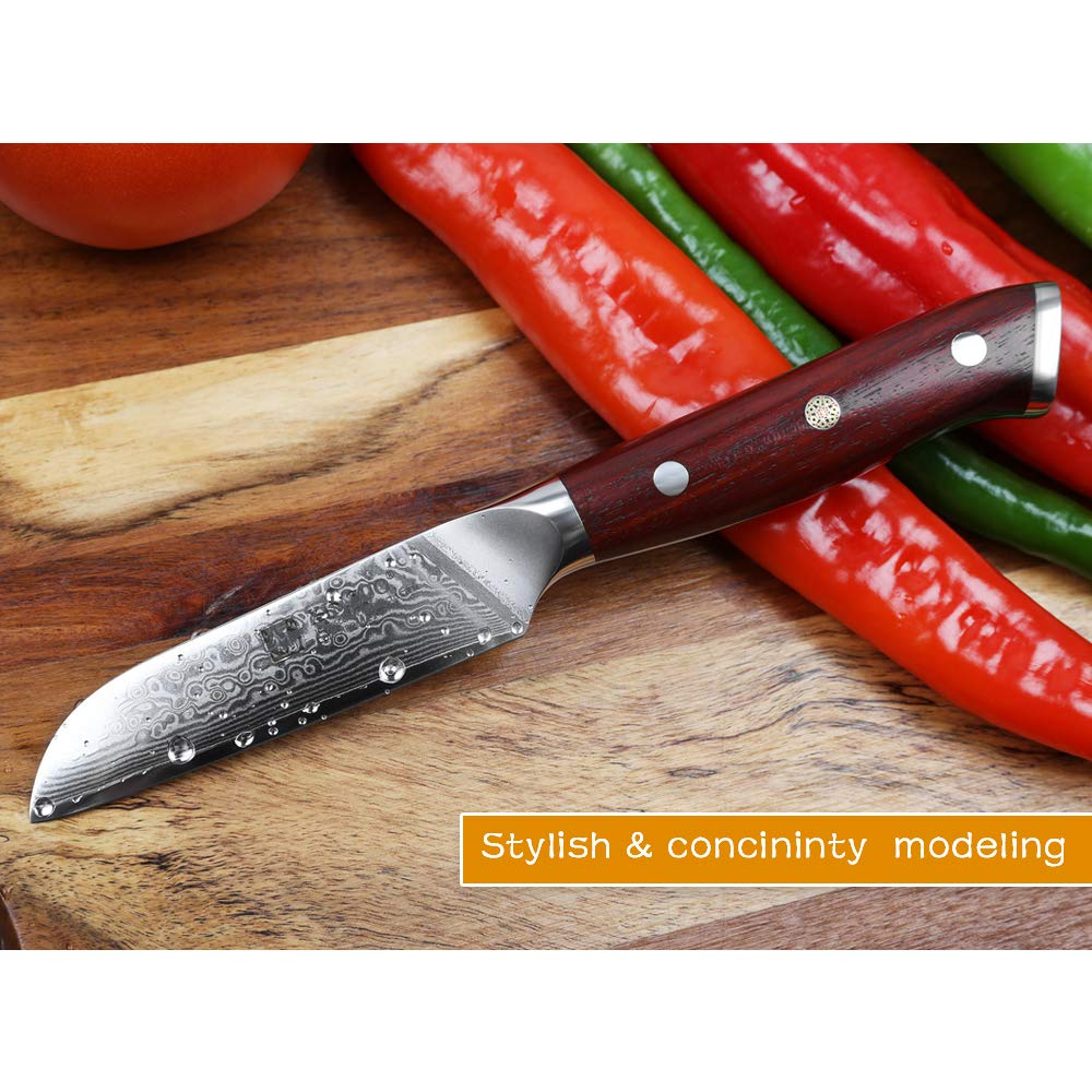 XINZUO 3.5 Inch Paring Knife 67 Layer Damascus Steel Kitchen Petty Knife Very Sharp Peeling Knife Fashion Professional Chef's Table Knife Cutlery Fruit Cutter with Rosewood Handle - Yu Series by XINZUO (Image #4)