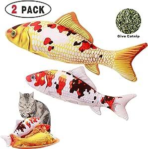 Cat Toy Catnip Fish Toys Gold Silver Carp & Tricolor Red Carp 2PCS, Pet Cat Teeth Cleaning Health Chew Bite Kick Refillable Catnip Fish Pillow D