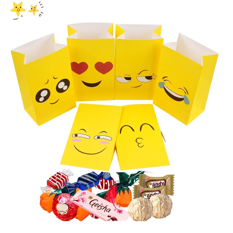 Amazon.com: Paquete de 24 bolsas de papel emoji para fiestas ...
