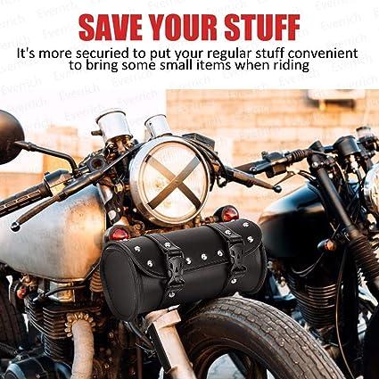 Everrich Motorrad Lenkertasche Motorrad Gabeltasche Sissy Bar Aufbewahrung Werkzeugtasche Leder Baumarkt