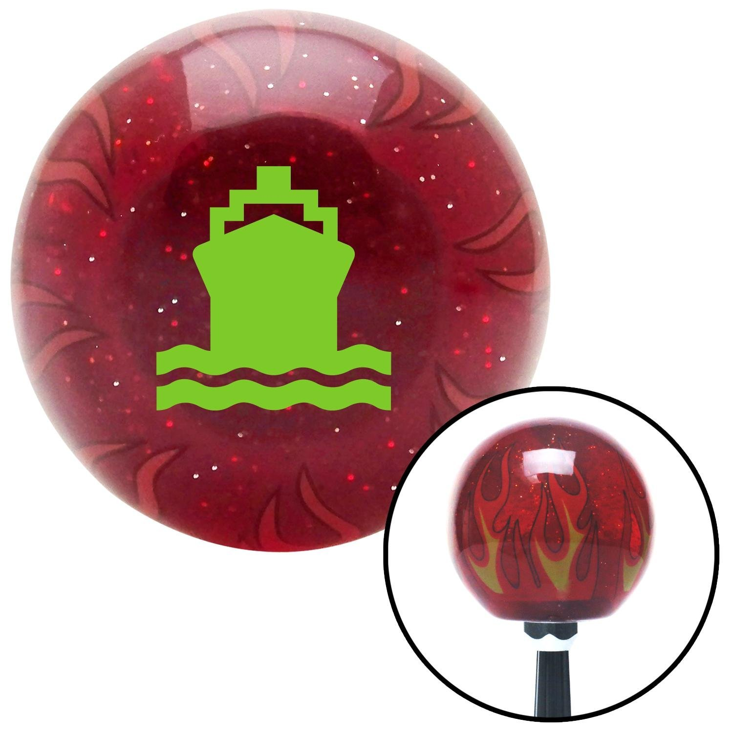 Green Cruiseship American Shifter 240466 Red Flame Metal Flake Shift Knob with M16 x 1.5 Insert