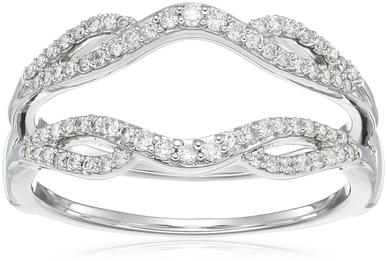 14k White Gold Diamond Solitaire Enhancer Ring (1/3cttw, I Color, I3 Clarity), Size 8