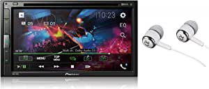 """Pioneer 6.8"""" Double DIN Touchscreen Display, Apple iPhone and Android Music Support, Bluetooth in-Dash DVD/CD AM/FM Front USB Digital Multimedia Car Stereo Receiver/Free Alphasonik Earbuds"""