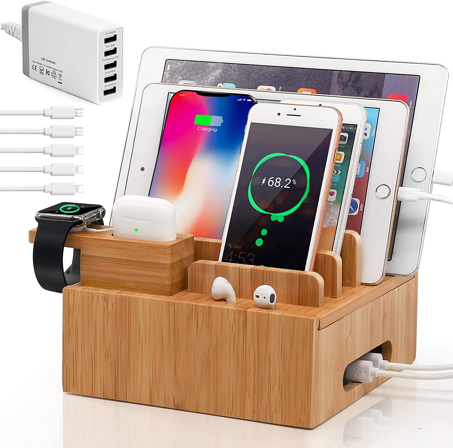 Pezin & Hulin Bamboo Charging Station for Multiple Devices (Included 5 Port USB Charger, 5 Pack Charge & Sync Cable, with AirPod & iWatch Stand), Electronic Device Organizer for Cell Phone, Tablet