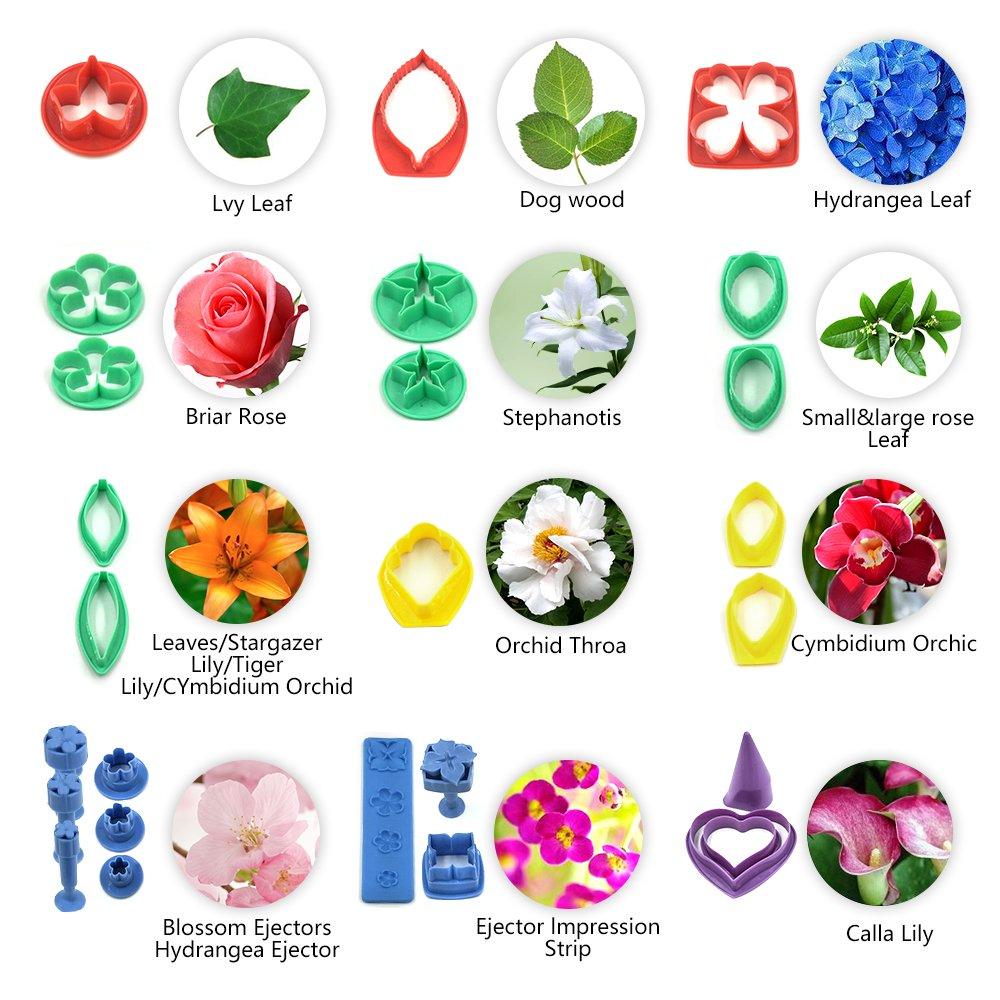 73pcs Gum Paste Flower & Leaf Tools Kit with 36 Flowers Cutter Set,2 Impression Mat,8 Modelling Tool,Baking Book,4 Ball Tools,3 Flowers Drying Rack,6 Filling Stick,7 brush,6 Set Cake Decorating Tools by kenman (Image #2)