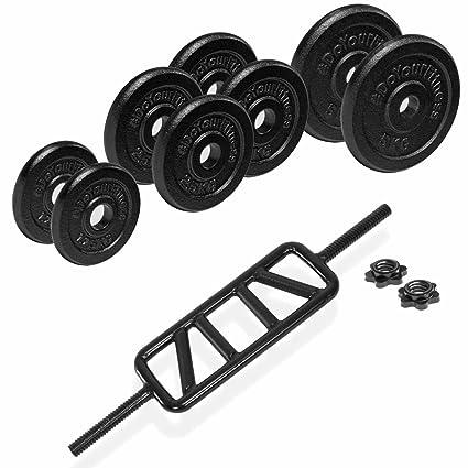 Barra Tríceps con pesas en Juego – 100% eissen con orificio de 30/31