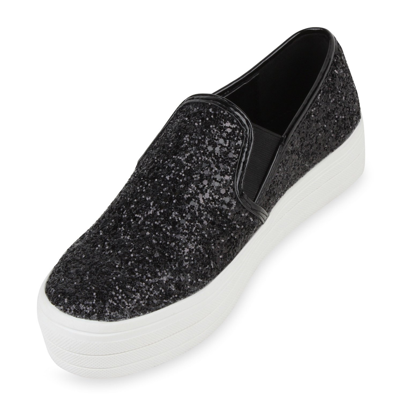 Stiefelparadies Damen Sneaker Slip Ons mit Plateau Glitzer Flandell