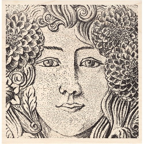 Zinnia Beauty Woman's Face with Flowers Rubber - Stamp Rubber Artistic