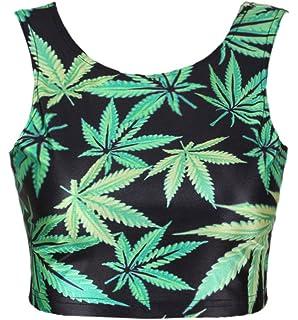 8f558dce39 NeonNation Neon Nation Green Marijuana 420 Weed Leaf Graphic Printed Crop  Tank Top
