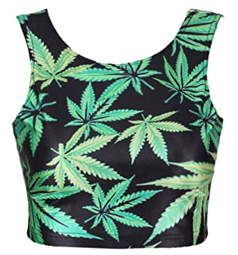 b32a4d176bca90 Neon Nation Green Marijuana 420 Weed Leaf Graphic Printed Crop Tank Top (S)