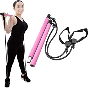 NA2 Pilates Bar Portable Home Workout Equipment - Exercise and Squat Bar with Resistance Bands - All in One Gym - Fitness with Band