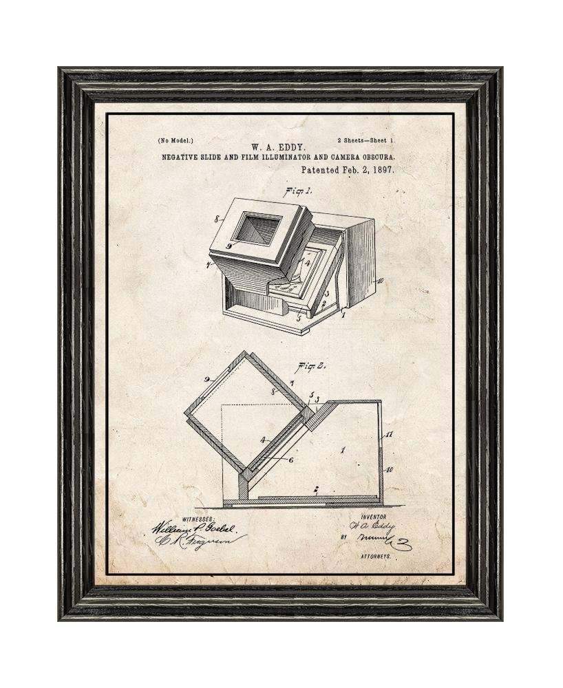Negative Slide And Film Illuminator Camera Obscura Diagram Patent Art Golden Look Print With A Border In Black Wood Frame 85 X 11 Posters