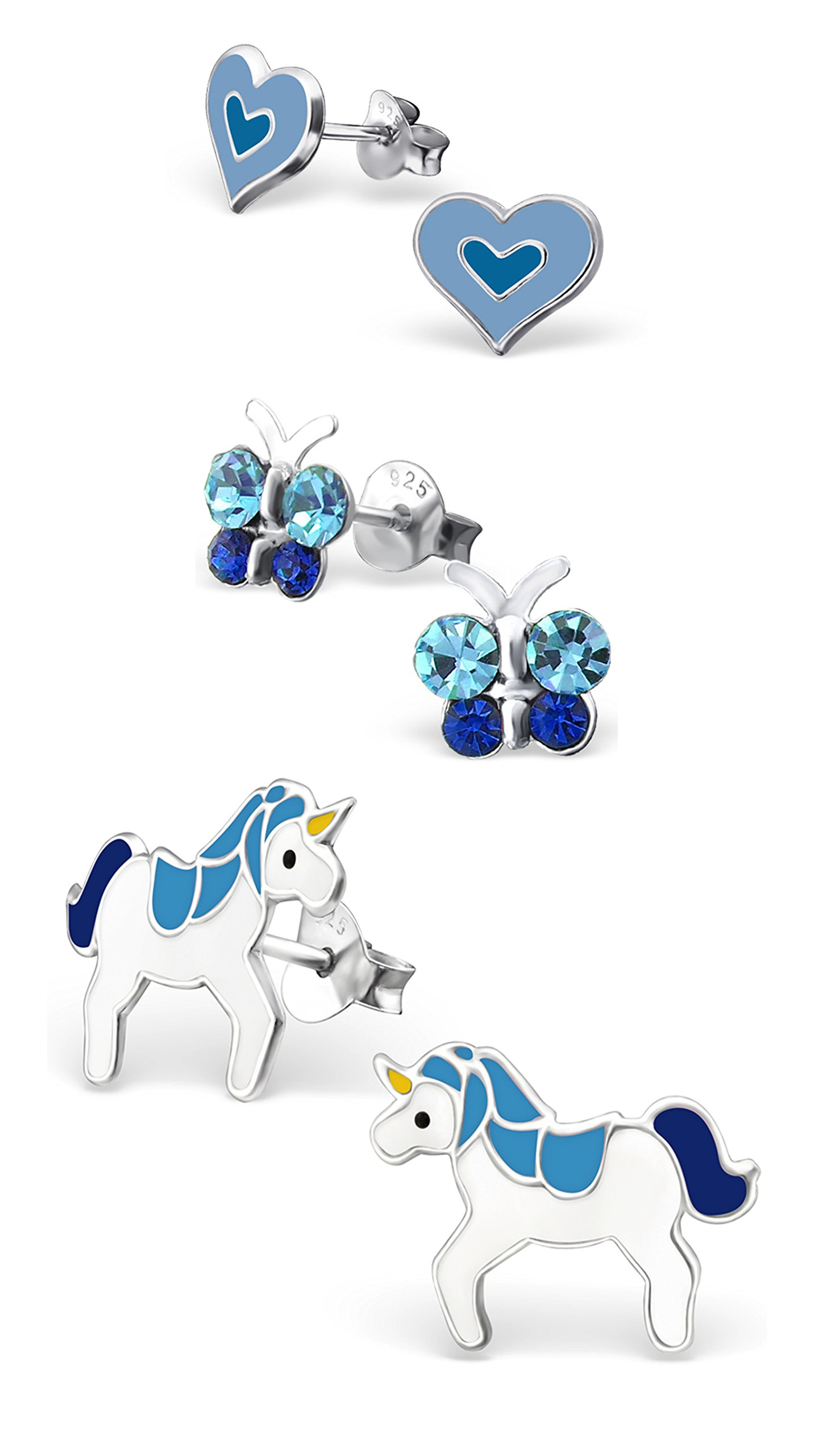 Best Wing Jewelry .925 Sterling Silver ''Blue Heart, Butterfly, Unicorn'' Stud Earrings for Children and Teens (3 Pairs)