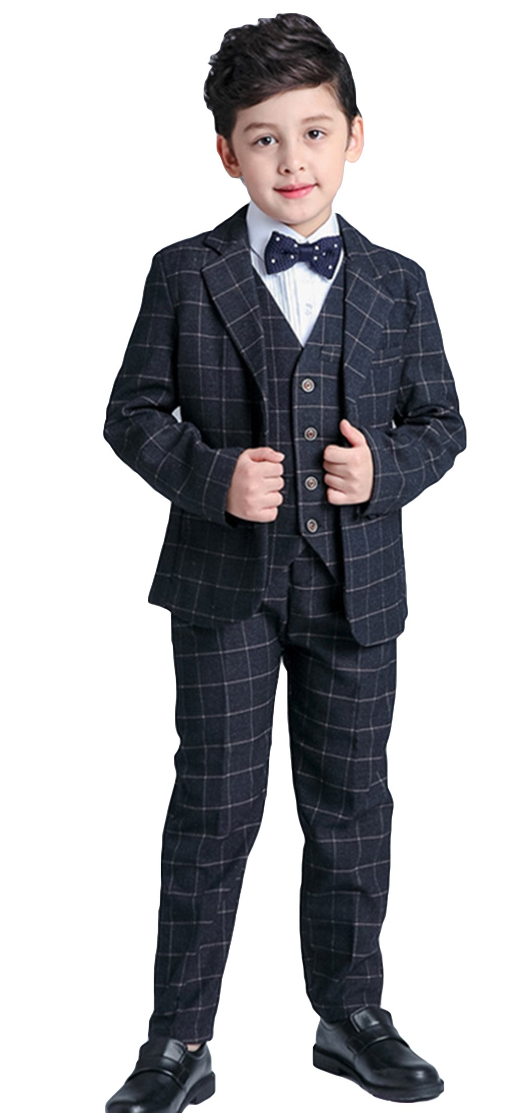 La Vogue Baby Boys Black Formal 5 Piece Gentleman Plaid Dress Wear Suit Set Size 160