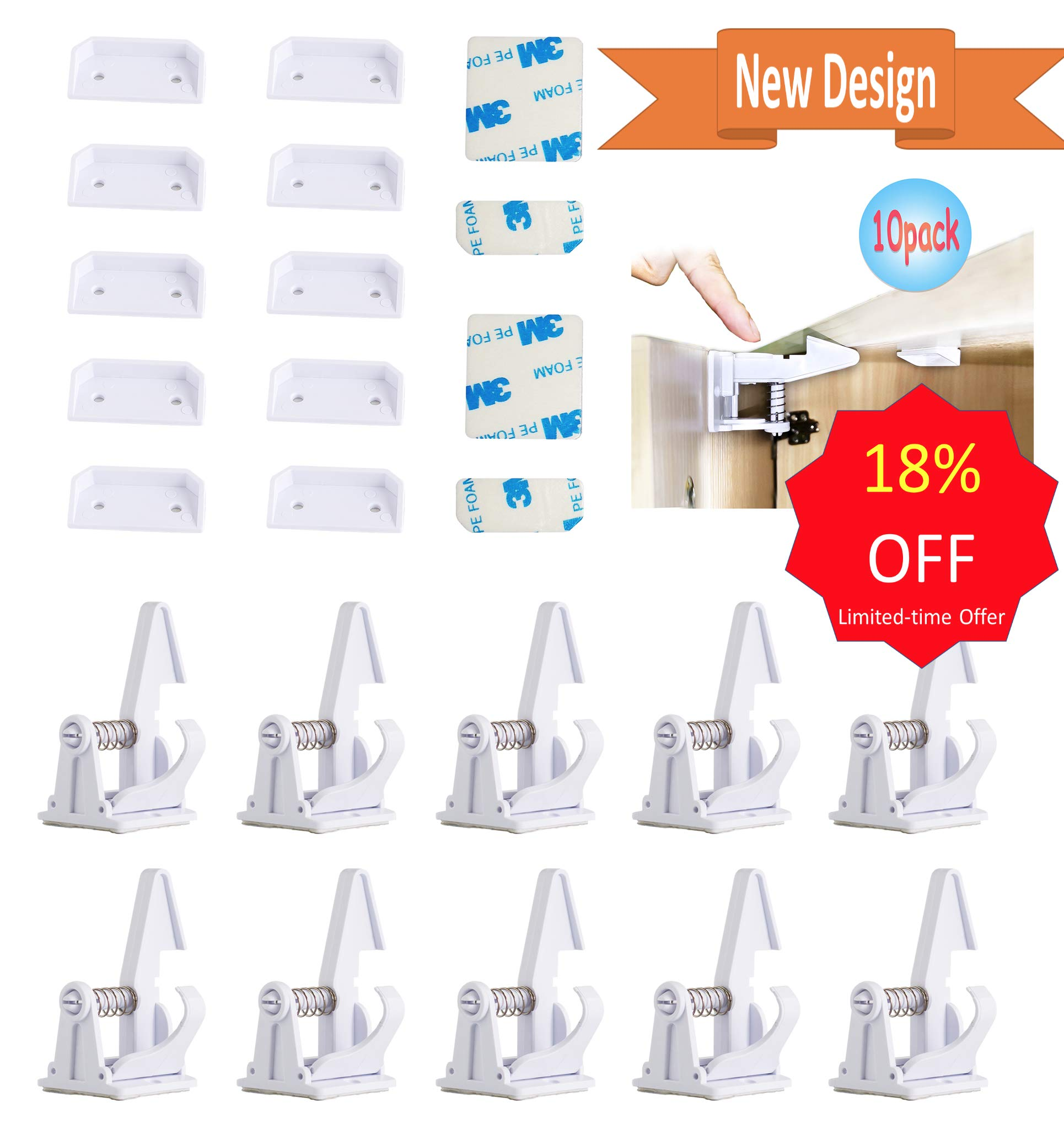 Baby Proofing Cabinet Locks Child Safety Latches Invisible Design 3M Adhesive No Tooling, Drilling: 10 Pack White Drawer Lock for Baby Safety with an Anti-lock, 2 more Sets of 3M Adhesive by Chakrabit by Chakrabit (Image #1)