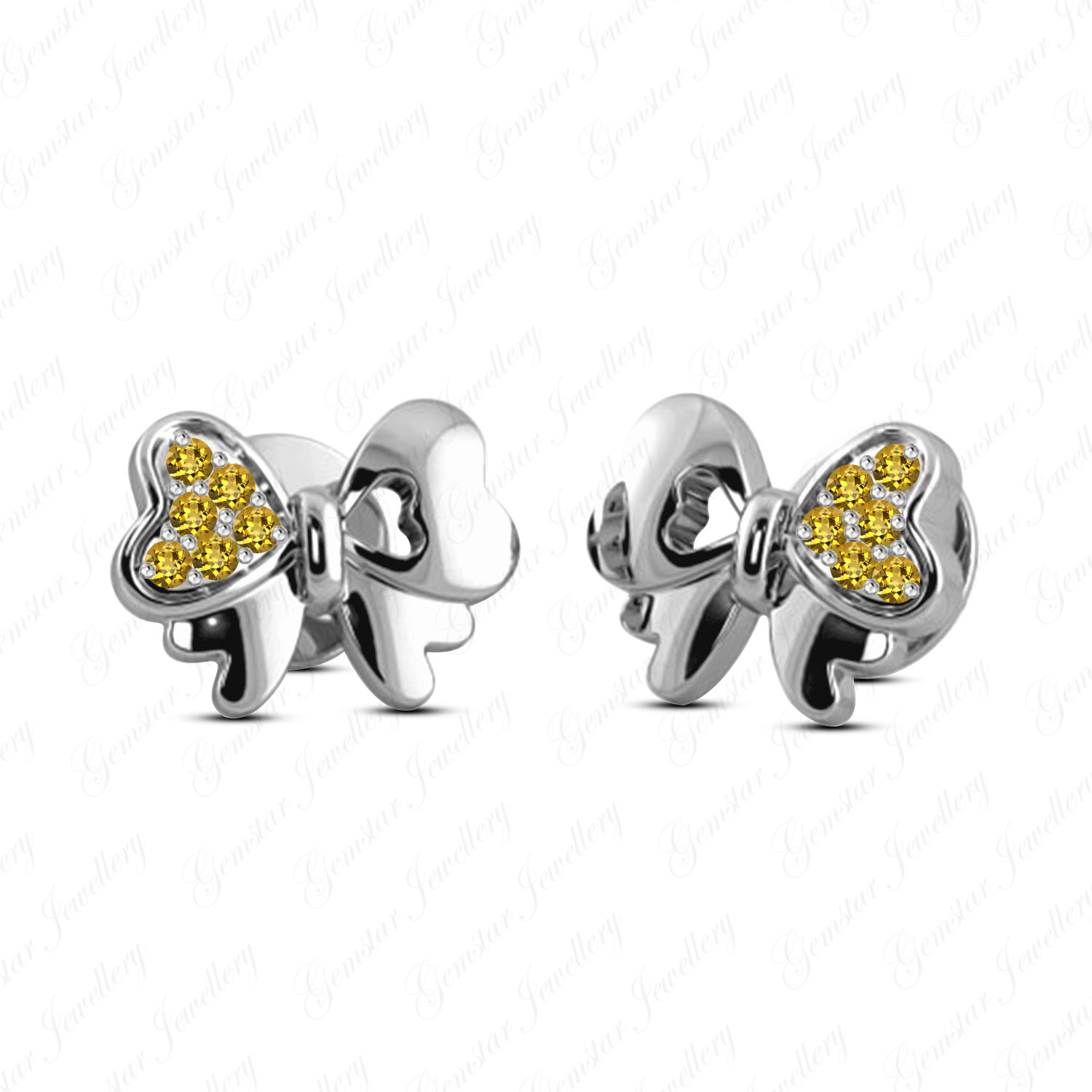 Gemstar Jewellery Girls Stud Minnie Mouse Bow Earrings In 14k White Gold Over 925 Silver Yellow Citrine