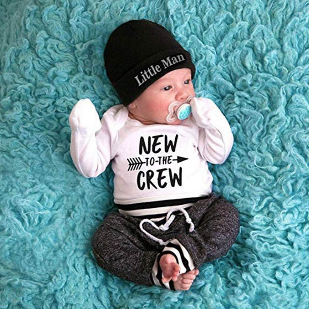 Hut Herbstkleidung Blaward Newborn Baby Boy Outfits Neu in der Crew Brief gedruckt Strampler mit Streifen Hosen