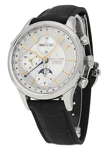 Maurice Lacroix Les Classiques - Reloj de pulsera Cronógrafo Phases de Lune Completo Calendario Analógico Automático lc6078 de SS001 - 131 - 1: Amazon.es: ...