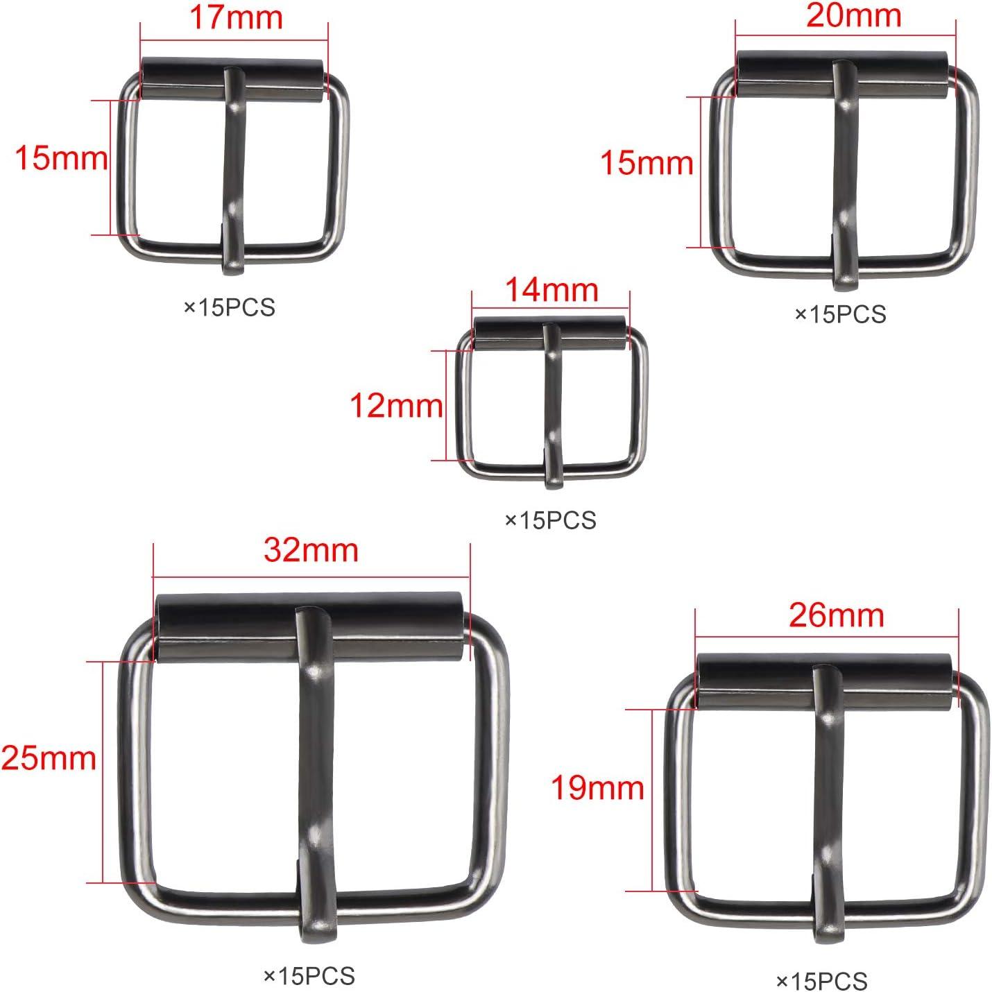 13 mm//16 mm//20 mm//25 mm//32 mm Bronze Accessoires de Bricolage Coolty 75pcs Boucles en M/étal pour Ceinture Sac /à Dos Craft Bags