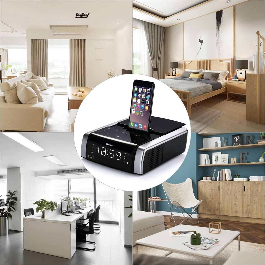 dpnao Charging Docks Station Speaker for iPhone Xs, XS Max, XR, X, iPhone 8, 7,6 Plus, Stereo Touch Key Bluetooth Wireless with Remote, USB Port to Charge Any USB Device (Apple Mfi Certified) by dpnao (Image #6)